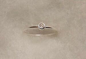 Delicate 0.07 carat natural rose quartz ring size 4.75