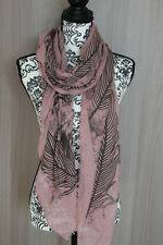 Maxi foulard 190 x80 scarf chale echarpes femme cheche étole plumes rose noir