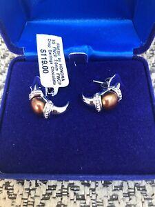 Fresh by Honora Chocolate Pearl Drop Earrings NWT 7 mm NWT Retails $119.00