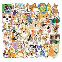 Details about  /50Pcs Cute Corgi Dog Stickers Skateboard Suitcase Laptop Guitar Car StickersV/_hz