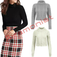 LADIES WOMEN'S CROP POLO NECK LONG SLEEVE WINTER KNITTED JUMPER TOP NEW UK