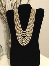 Stunning Vintage Multi-Strand Graduated Pearl Necklace