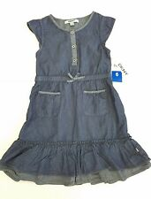 DKNY Girls Dress Chambray Denim Ruffle Bottom Pockets Size 6 NWT