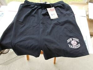 Vintage 1998 Pro Edge New York Yankees Embroidered Gym Shorts Mens L Cotton Blue