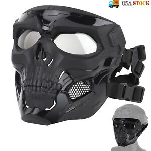 Skull Tactical Mask Paintball Airsoft CS Full Face Protective Helmet w/Goggles
