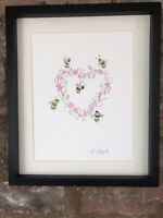 Bumble Bees, Pink Floral Heart, Original Watercolour Painting, Original Art