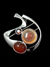 Agate, Carnelian and Garnet with Diamond Set in Silver with Gold, Pendant