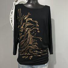 Medium - CAbi Women's Black Gold Sequined Dolman Sleeve Top Style #152
