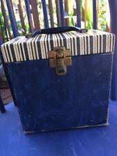 Vintage 45 Record Case Blue Striped Top Marbled Base