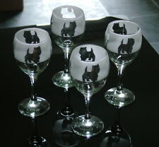 More details for west highland white terrier dog wine glasses by glass in the forest