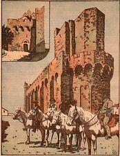 IMAGE 1930 PRINT SAINTES MARIES DE LA MER EGLISE CHEVAUX CAVALIERS