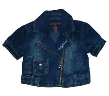 Baby Phat Little Girl's Denim Motorcycle Jacket Moto Top Size 2T Blue Jeans New