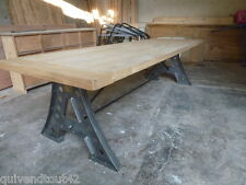 IMMENSE TABLE INDUS ANCIENNE FER ET CHENE RECYCLE NO TOLIX STRAFOR RONEO