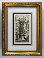 "Detailed Charles MERYON ""The Old French House"" DURAND 1800s Etching FRAMED COA"