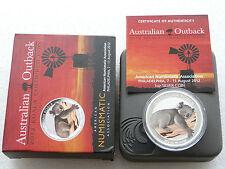 2012 Australia OUTBACK KOALA COLORE $1 UN DOLLARO D'ARGENTO 1 OZ (ca. 28.35 g) MEDAGLIA BOX COA