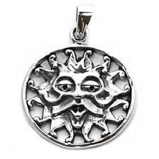 Plata esterlina sólida Dios Sol sagrado Pagano Wicca Mithra Colgante P036
