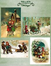 VICTORIAN VINTAGE STYLE CHRISTMAS CARDFRONT CHILDREN SCRAPBOOK HOLIDAY PAPER