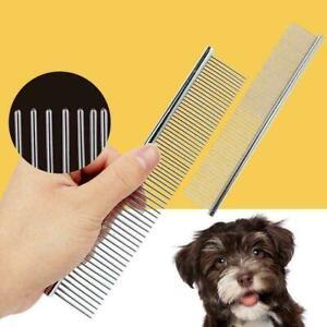 Pet Dog Cat Stainless Steel Double Row Teeth Grooming Hair Comb Brush Fur Rake--