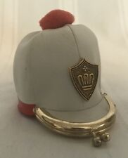 Vintage White Hat Shaped Kisslock Coin Purse Pom Pom Made in Japan  S15