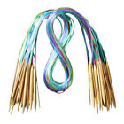 18Sizes Circular Bamboo Knitting Needles Set +Colored Tube 2.0mm-10.0mm 40-120cm