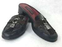Brighton Alma Slides Mules Shoes 7 N Brown Leather Croc Patent Tassel Moc Toe