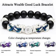 Feng Shui Black Obsidian Beads Silver Pi Xiu Wealth Bracelet Lucky Jewelry Xmas