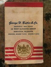 1954 George H Butler Insurance Anniston Alabama Notepad