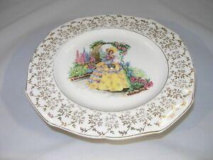 Antique English Cake/Server Plate w/Chrome Stand & Crinoline Lady and Flowers