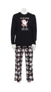 Jammies for Families Mens Large Christmas Pajamas Set Santa plaid New Black