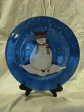 Lot of 8 Sakura Dinner Plates Snowmates Snowman Blue Snow Debbie Taylor Kerman