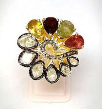 Tourmaline Gemstone Ring,Rose Cut And Polki Diamond Ring,Pave Diamond Ring