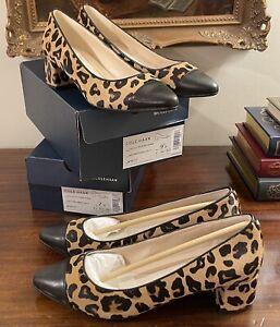 NIB $180 Cole Haan Ladies 9.5 Leopard Print Block Heel Pump Shoe 💦 Waterproof