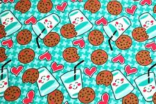 """NEW ADORABLE  MILK, COOKIES, & HEARTS FLANNEL 100% COTTON MATERIAL  2 YDS 42x72"""""""