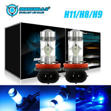 2x 8000K Ice Blue H8 H11 H9 100W LED Fog Light Headlight Bulb For Audi BMW Chevy