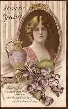 Vintage Original Greetings Postcard Woman in Mirror Purple Pansies (G1)
