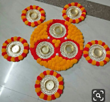 Indian Handmade Decorate Candel Pooja Thali For Home Decoration Diwali Gift Sale