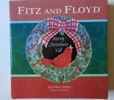 Fitz And Floyd Merry Christmas Yall Southern Santa Canape Wreath Bird Plate