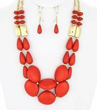 TWO LAYERS RED LUCITE BEAD GOLD TONE BEAD GRADUAL NECKLACE EARRING