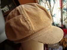 True Vtg 80s TAN CORDUROY Side Pocket Groovy FITTED DISCO CABBIE CAP