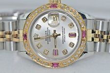 Womens Rolex Datejust Oyster Perpetual 18K Gold Diamonds / Rubies