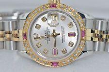 Womens Rolex Datejust Oyster Perpetual 18K Gold Diamonds / Rubies