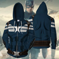 Marvel Captain America Hoodie Cosplay Costume Sweatshirt Cool Sports Coat Jacket