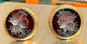1873 Victorian Antique 14k Gold Cufflinks - Deep Red Cameo - Estate - 9.87 grams