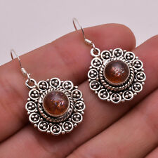925 Solid Sterling Silver Earrings, Natural Sun Stone Handcrafted Jewelry CE696