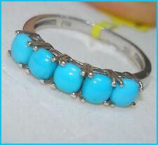 Arizona Sleeping Beauty Turquoise  Ring Platinum Sterling Silver 925 sz  6 7