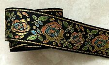 Jacquard Ribbon,1+1/2 inch Black – Gold – Peach – Turquoise selling by the yard