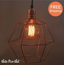 Hexagonal Copper Lampshade Light Industrial Fitting Cage Bulb Wire Geometric Fun