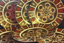 """New Royal Crown Derby 2nd Quality Old Imari 1128 Set of 6 x 10"""" Dinner Plates"""