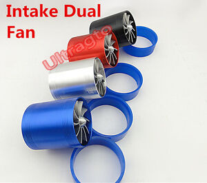 Dual Air Intake Fan Supercharger Turbo Pipe Fan Kit Gas Fuel Save SILVER