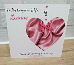 Personalised Silk 12th Wedding Anniversary Card Wife Husband